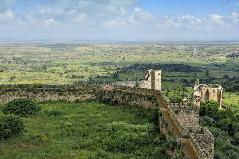 Vue de château de Trujillo (Estrémadure, Espagne) image libre de droits