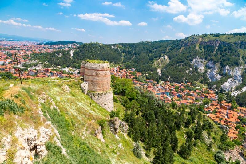 Vue de château et de paysage urbain de Kutahya photographie stock