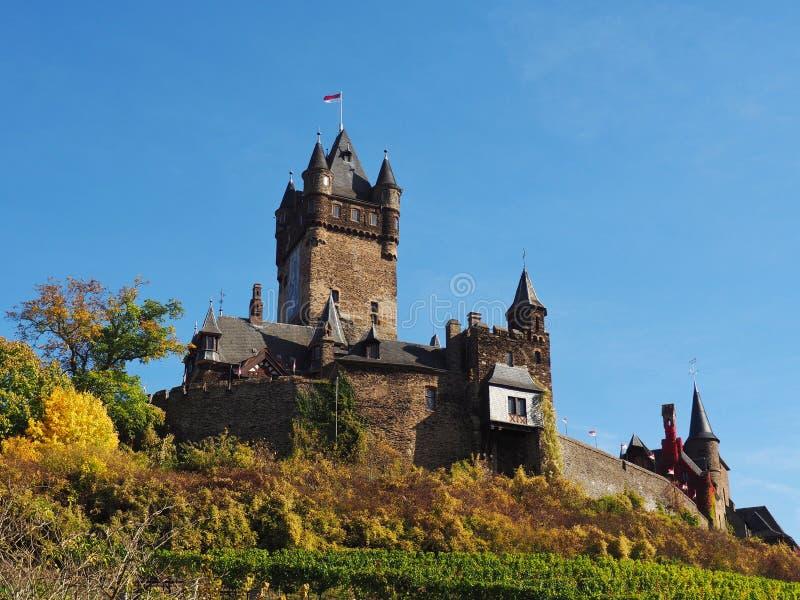 Vue de château européen historique, Reichsburg Cochem, Allemagne image stock