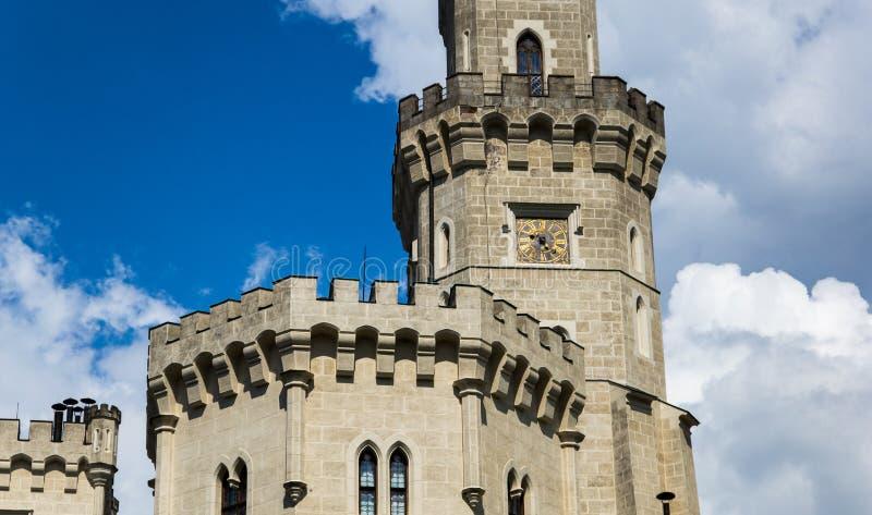 Vue de château Hluboka NAD Vltavou de la Renaissance image libre de droits