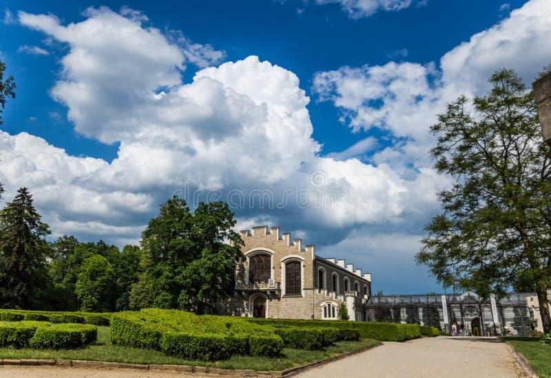 Vue de château Hluboka NAD Vltavou de la Renaissance images libres de droits