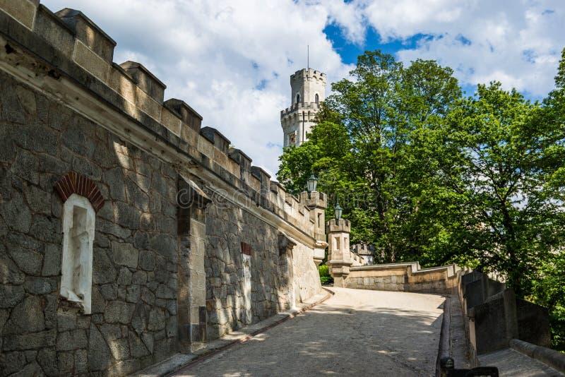 Vue de château Hluboka NAD Vltavou de la Renaissance photos stock
