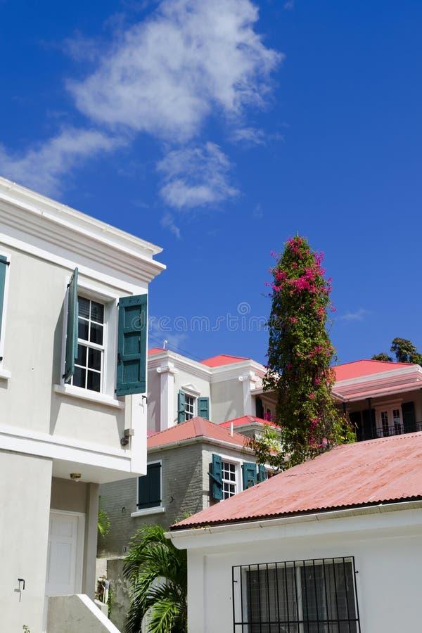 Vue de Charlotte Amalie, rue Thomas USVI images libres de droits