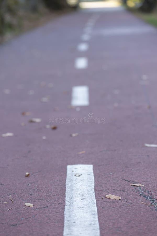 Vue de chemin avec la marque discontinue sur le détail de plancher photo stock