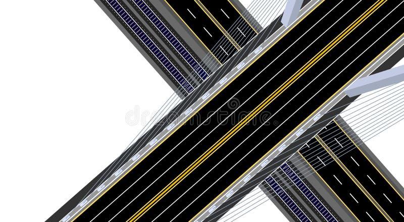 Vue de ci-avant Pont suspendu en route avec la route, le chemin de fer et la route Illustration illustration stock