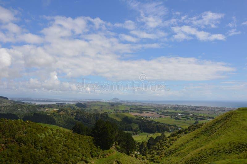 Vue de colline de Papamoa photo stock