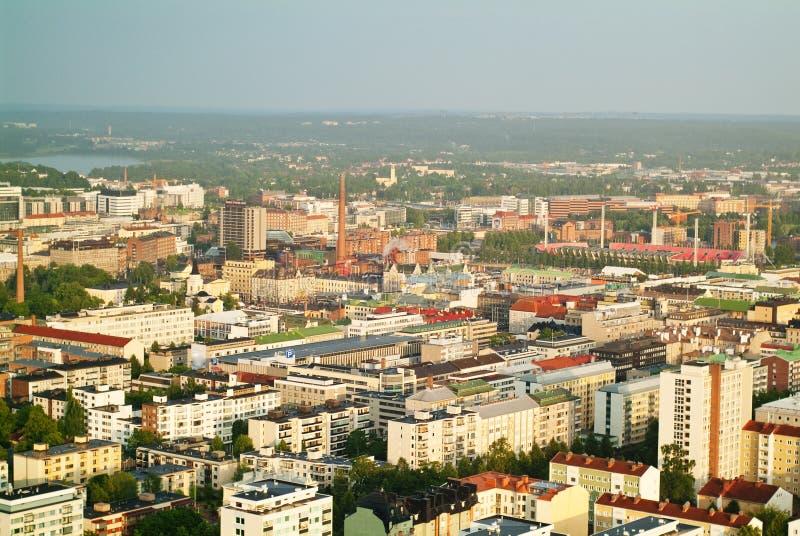 Vue de constructions de Tampere de tour de Nasinneula images libres de droits