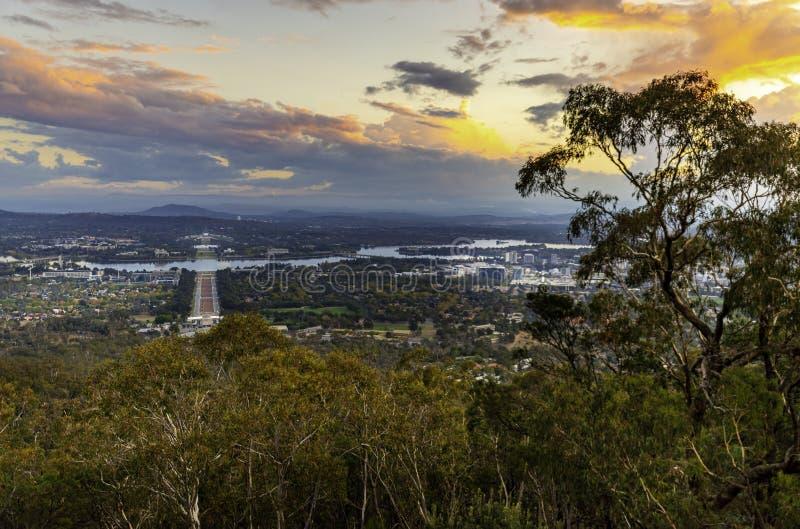 Vue de coucher du soleil de bâti Ainslie Lookout, Canberra photo stock