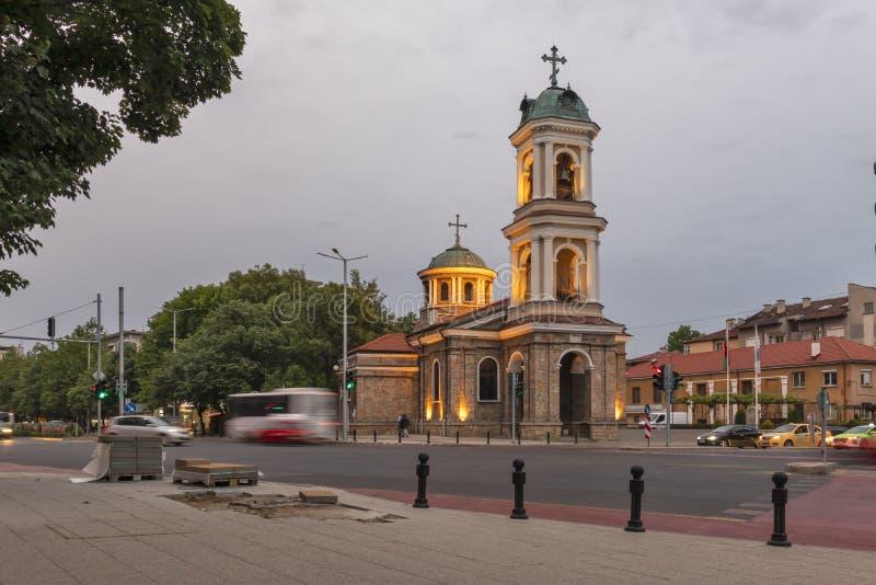 Vue de coucher du soleil d'église de saint Petka dans la ville de Plovdiv, Bulgarie photo stock