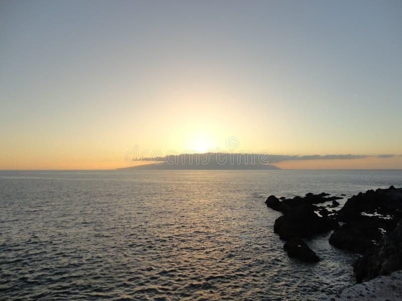 Vue de coucher du soleil d'île de Gomera de La images stock