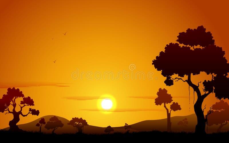 Vue de coucher du soleil de jungle illustration libre de droits