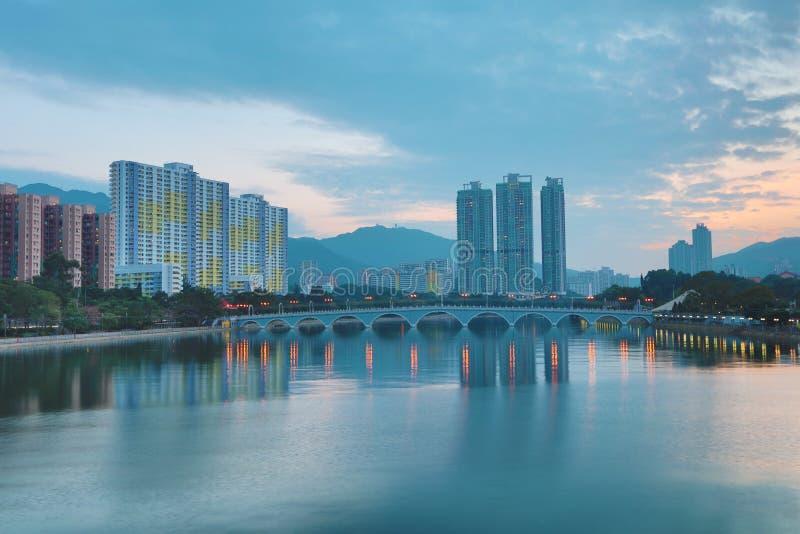 Vue de coucher du soleil de Shing Mun River 2016 photo libre de droits