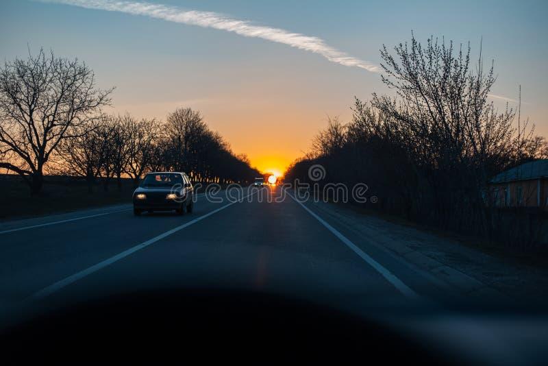 Vue de coucher du soleil et d'arbres par la fenêtre de voiture photo libre de droits