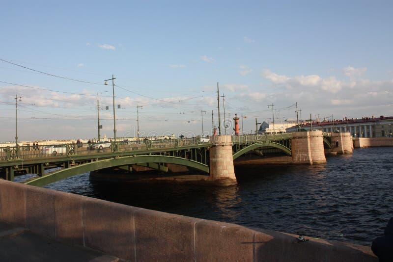 Vue de coucher du soleil de la rivi?re et du pont images stock