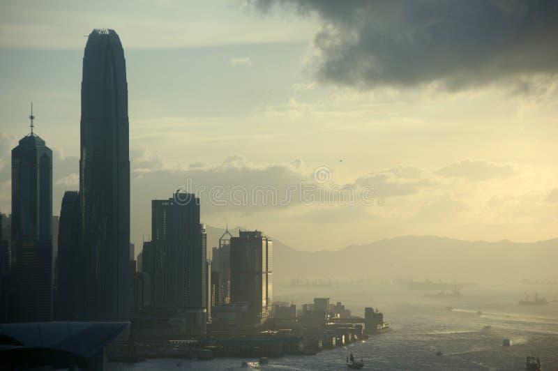 Vue de coucher du soleil sur Hong Kong image stock