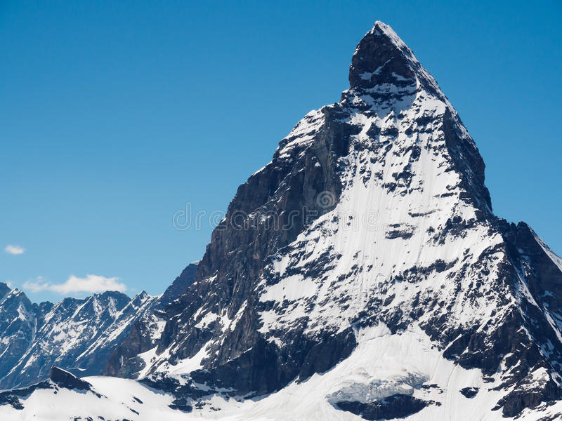 Vue de crête de Matterhorn de station de train de gornergrat, image libre de droits