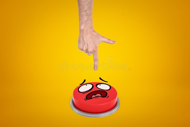 Vue de culture de main émergeant en haut de prêt à appuyer sur le grand bouton rouge avec le visage de bande dessinée sur le fond image libre de droits