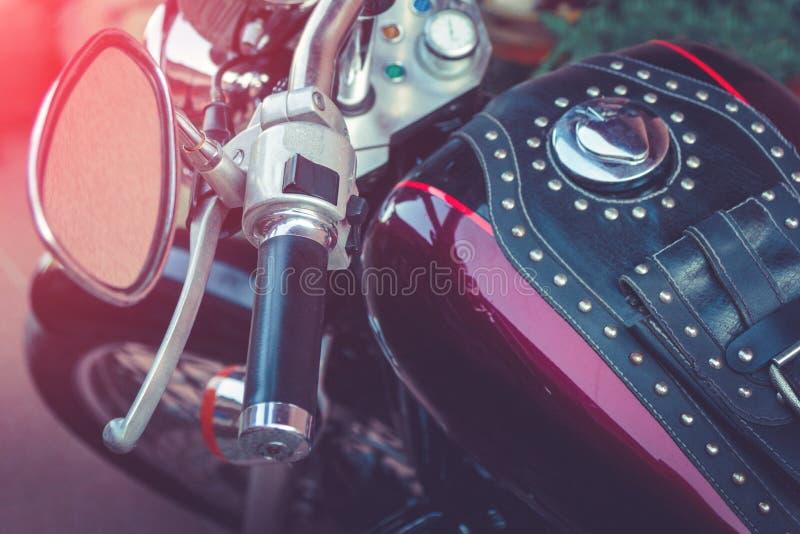 Vue de détail de motocyclette Plan rapproché des pièces de moto image stock