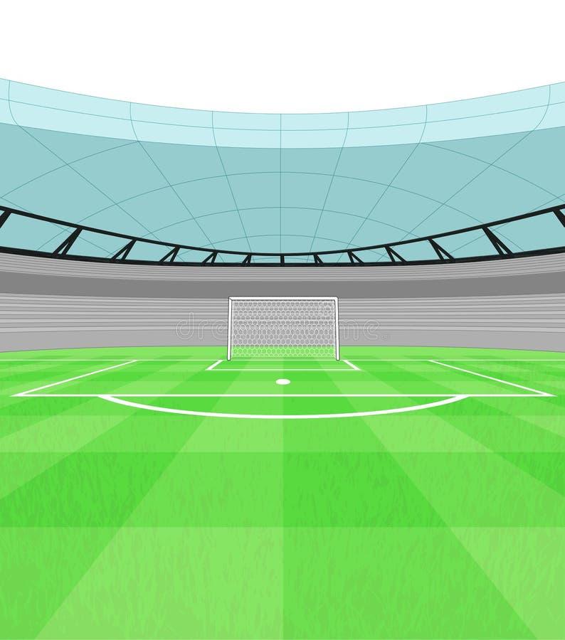 Vue de but de tireur du football sur le vecteur de terrain de jeu illustration stock