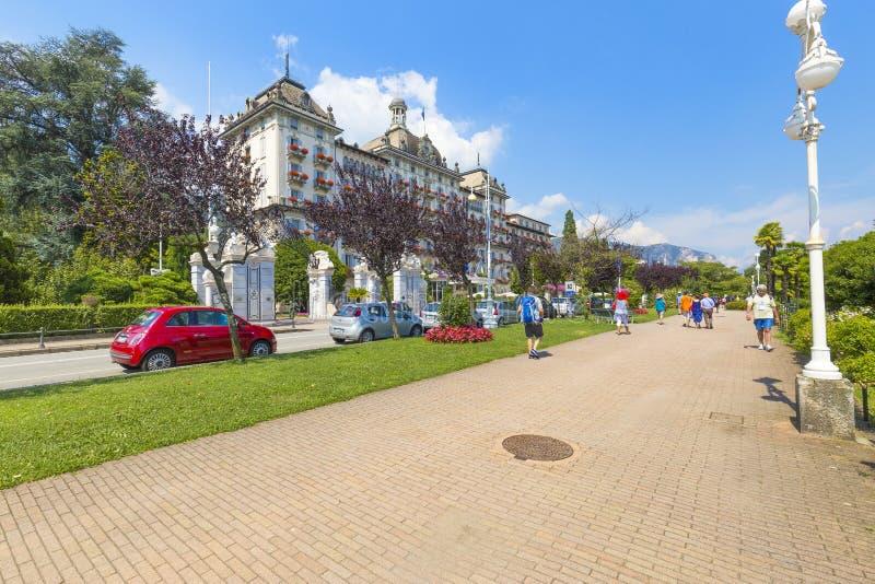 Vue de DES de Grand Hôtel Iles Borromees chez Stresa sur le lac Maggiore Italie 27 mai 2019 photos stock