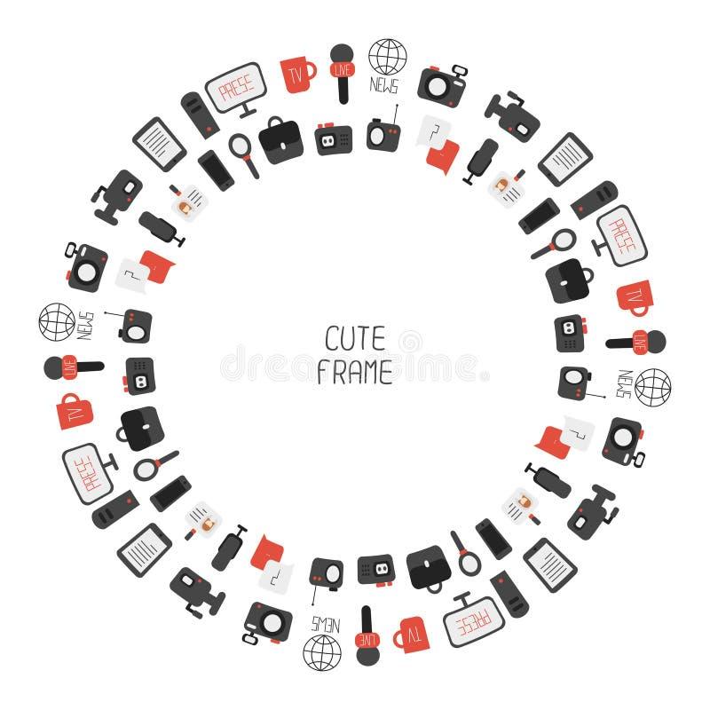 Vue de des icônes colorées plates de journalisme de vecteur illustration libre de droits