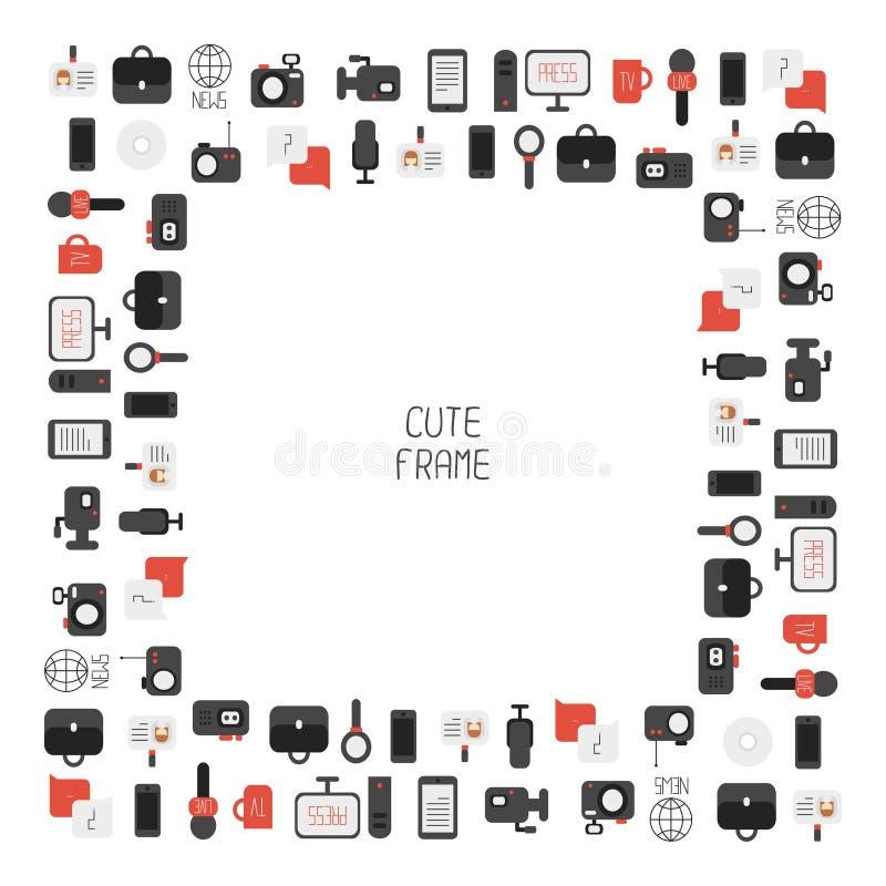 Vue de des icônes colorées plates de journalisme de vecteur illustration de vecteur