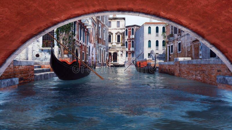 Vue de dessous le pont pour arroser le canal à Venise illustration stock
