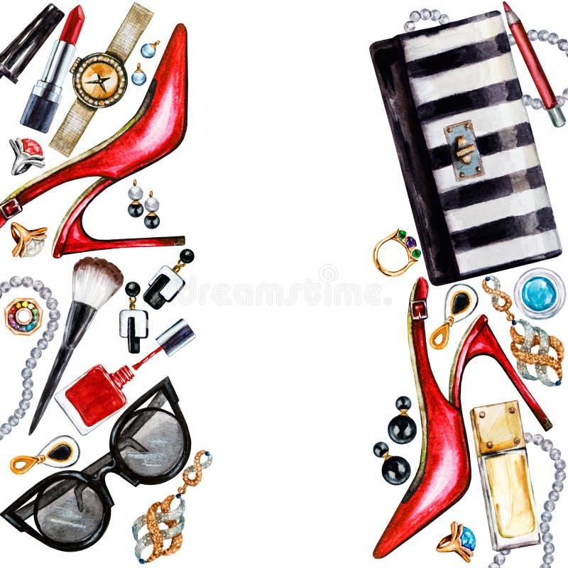 Vue de divers accessoires de femelle d'aquarelle Produits de maquillage illustration stock