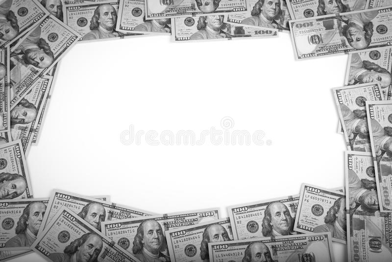 Vue de 100 dollars de billets de banque photos stock