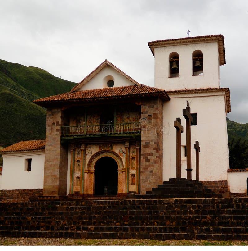 Vue de façade à St Peter Church d'Andahuaylillas, Cuzco, Pérou photo libre de droits