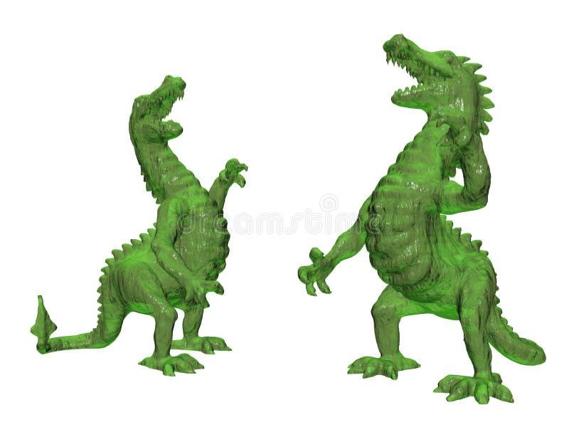 Vue de face animale verte de dragon, d'isolement sur blanc, ombre - rendu 3d illustration de vecteur
