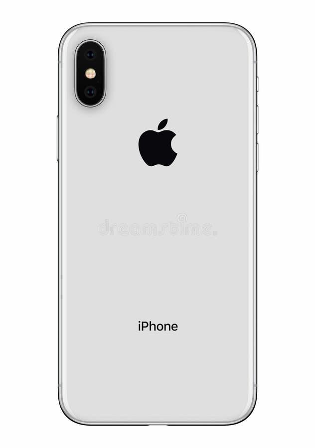 Vue de face argentée d'arrière de l'iPhone X d'Apple d'isolement sur le fond blanc photo stock