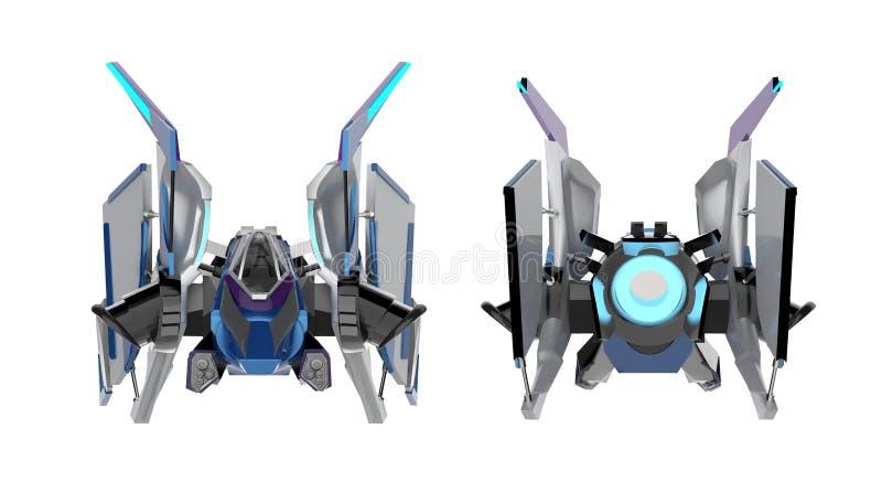 Vue de face arrière et de vaisseau spatial d'isolement de la science fiction illustration de vecteur