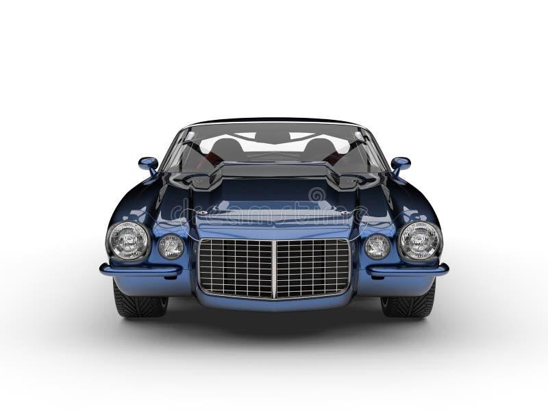 Vue de face automobile classique américaine de beau vintage bleu-foncé métallique illustration libre de droits