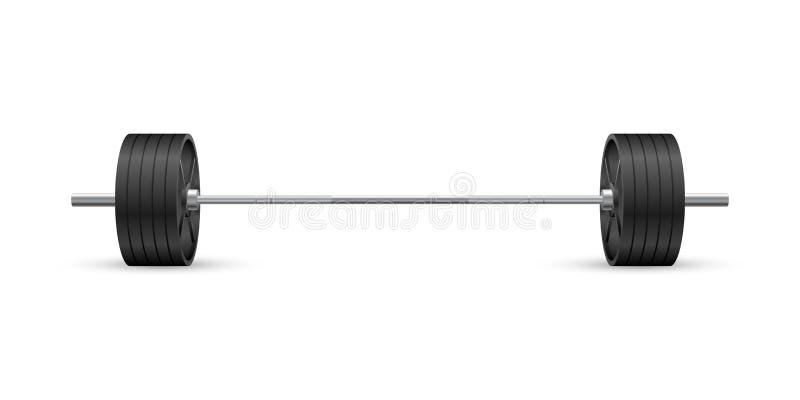 Vue de face de beau vecteur réaliste de forme physique d'un barbell olympique avec les plats noirs de fer sur le fond blanc illustration de vecteur