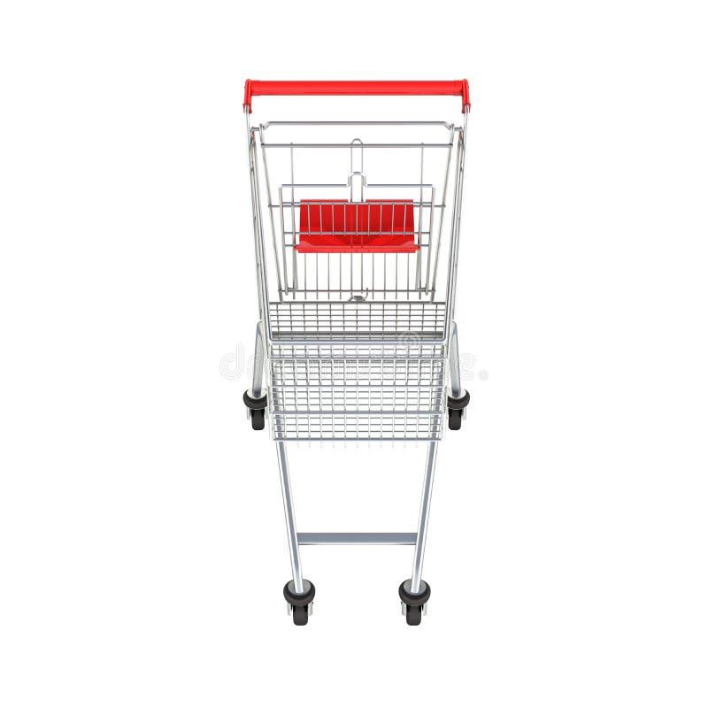 Vue de face de caddie de supermarché sans ombre sur le fond blanc 3d illustration libre de droits