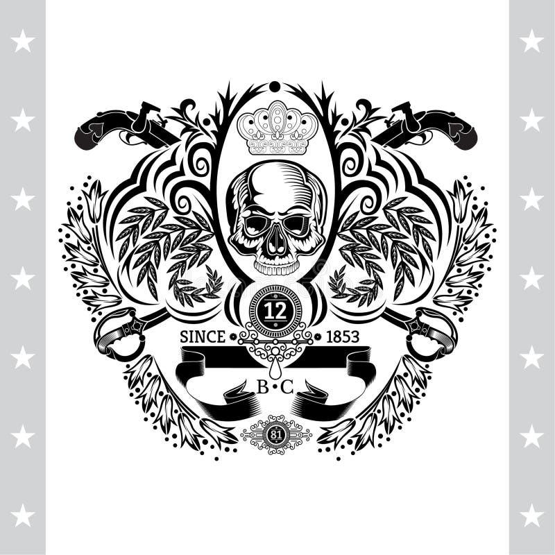 Vue de face de crâne au centre du modèle floral avec les armes à feu et les sabres croisés de vintag Le label héraldique de cru a illustration de vecteur