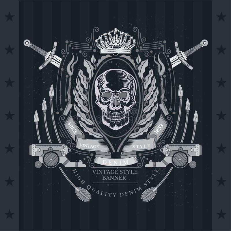 Vue de face de crâne au centre de la guirlande olive ovale entre les épées, les canons et les flèches croisés Label héraldique de illustration libre de droits