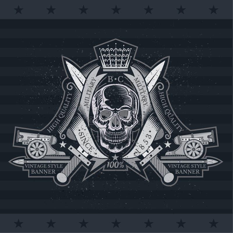 Vue de face de crâne entre les rubans de enroulement, les canons et les épées croisées Label héraldique de cru sur le noir illustration de vecteur