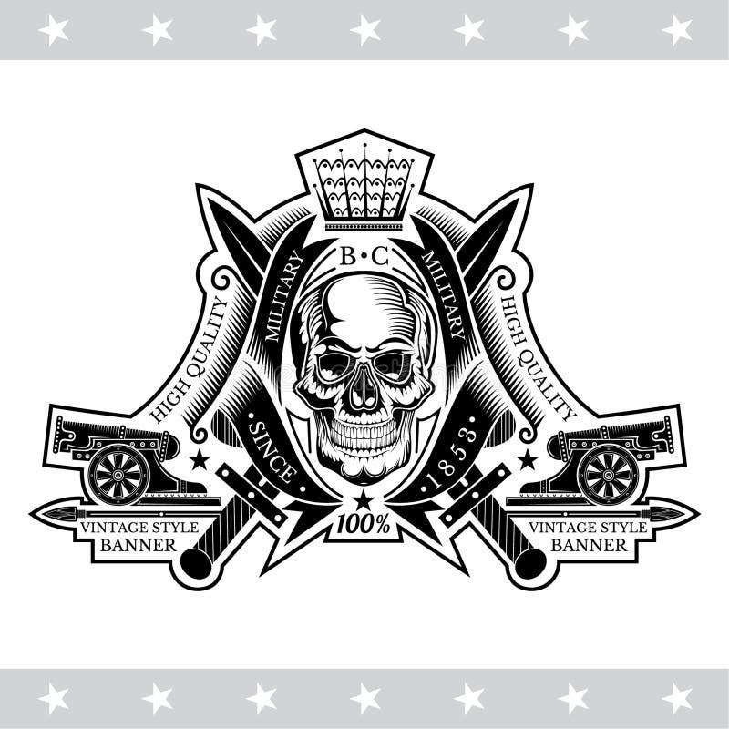 Vue de face de crâne entre les rubans de enroulement, les canons et les épées croisées Le label héraldique de cru a isolé illustration stock
