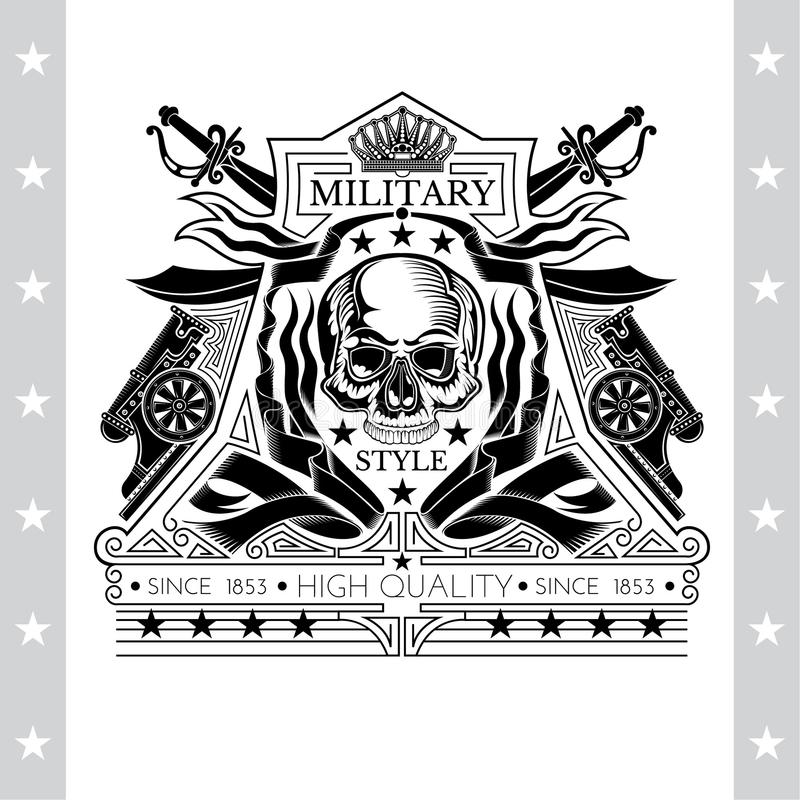 Vue de face de crâne sans mâchoire inférieure entre les canons de enroulement de rubans et les épées croisées derrière Le label h illustration stock
