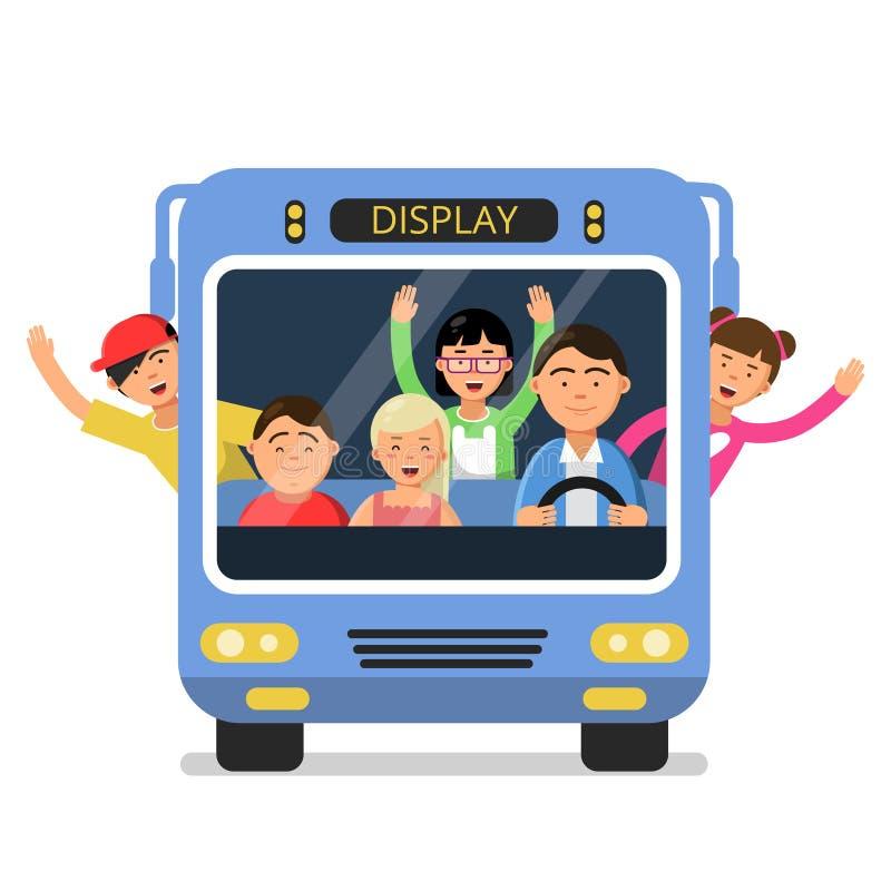 Vue de face d'autobus scolaire avec l'ensemble des enfants et du conducteur heureux illustration de vecteur