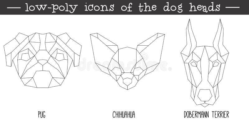 Vue de face d'ensemble triangulaire d'icône de tête de chien illustration de vecteur