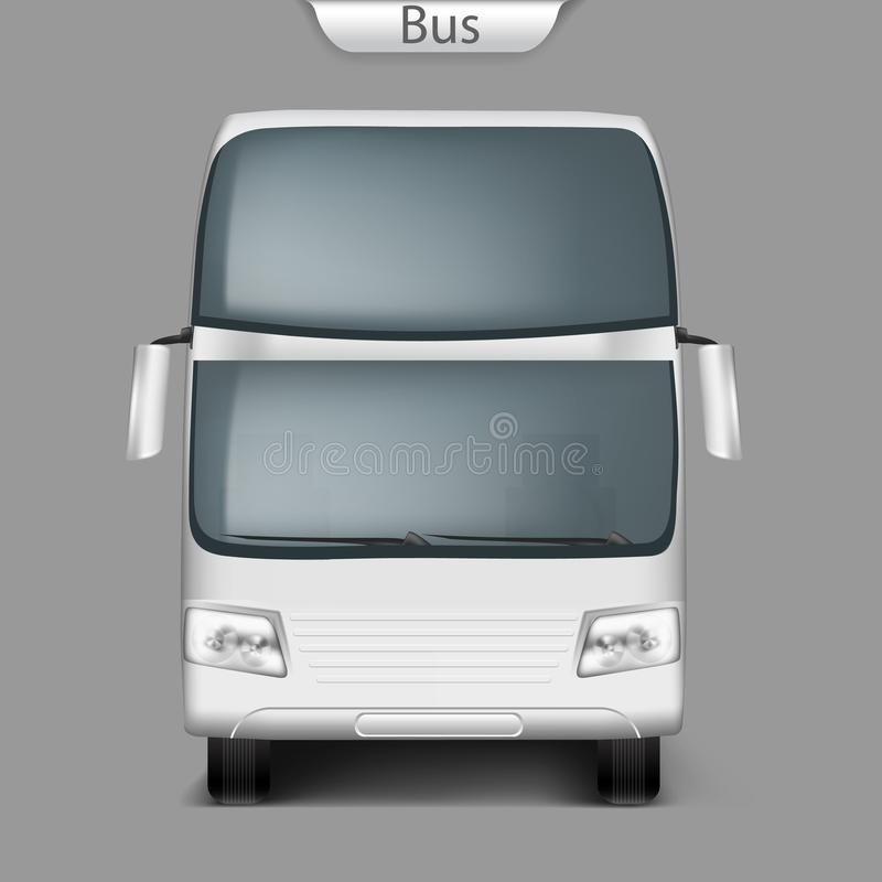 Vue de face d'entraîneur de vecteur de maquette réaliste d'autobus illustration stock