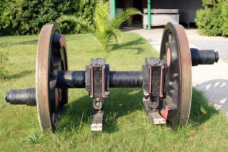 Vue de face d'essieu de roue locomotif photo stock