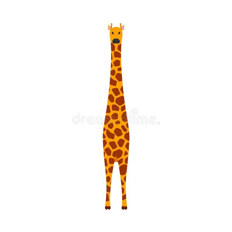 Vue de face d'icône mammifère de vecteur de girafe Symbole brun mignon de safari de caract?re animal Herbivore jaune de l'Afrique illustration libre de droits