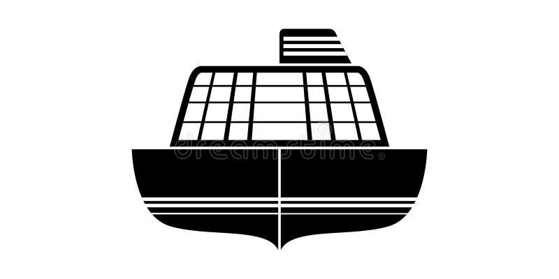 Vue de face d'isolement d'une icône de bateau de croisière illustration libre de droits
