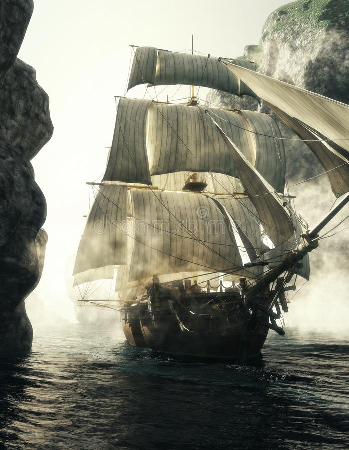 Vue de face d'un bateau de pirate perçant par le brouillard d'un canal étroit images libres de droits