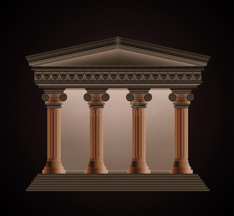 Vue de face d'un temple grec antique dans illustration stock