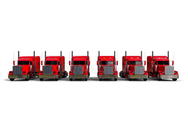 Vue de face d'une flotte de camions d'Américain illustration de vecteur